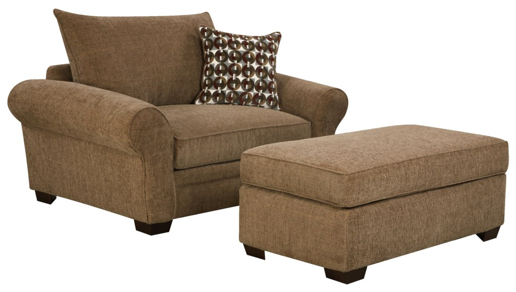 Corinthian 5460 Extra Large Chair And A Half Ottoman Set For