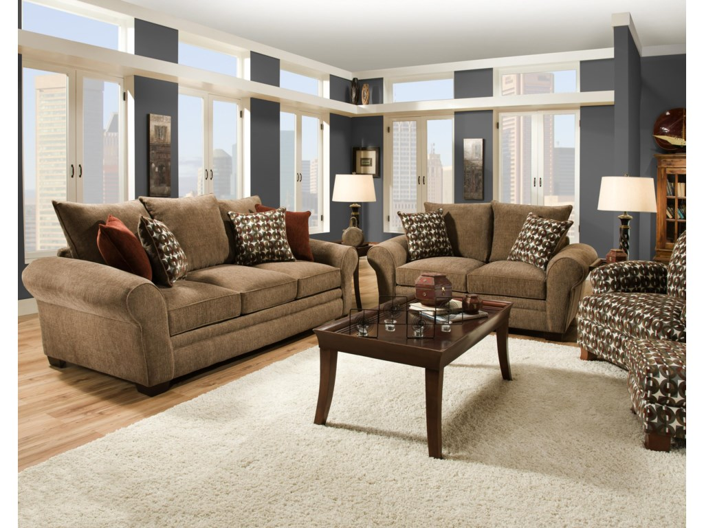 Shown with Coordinating Collection Sofa. Coordinating Accent Chair and Ottoman Shown in Right Center.