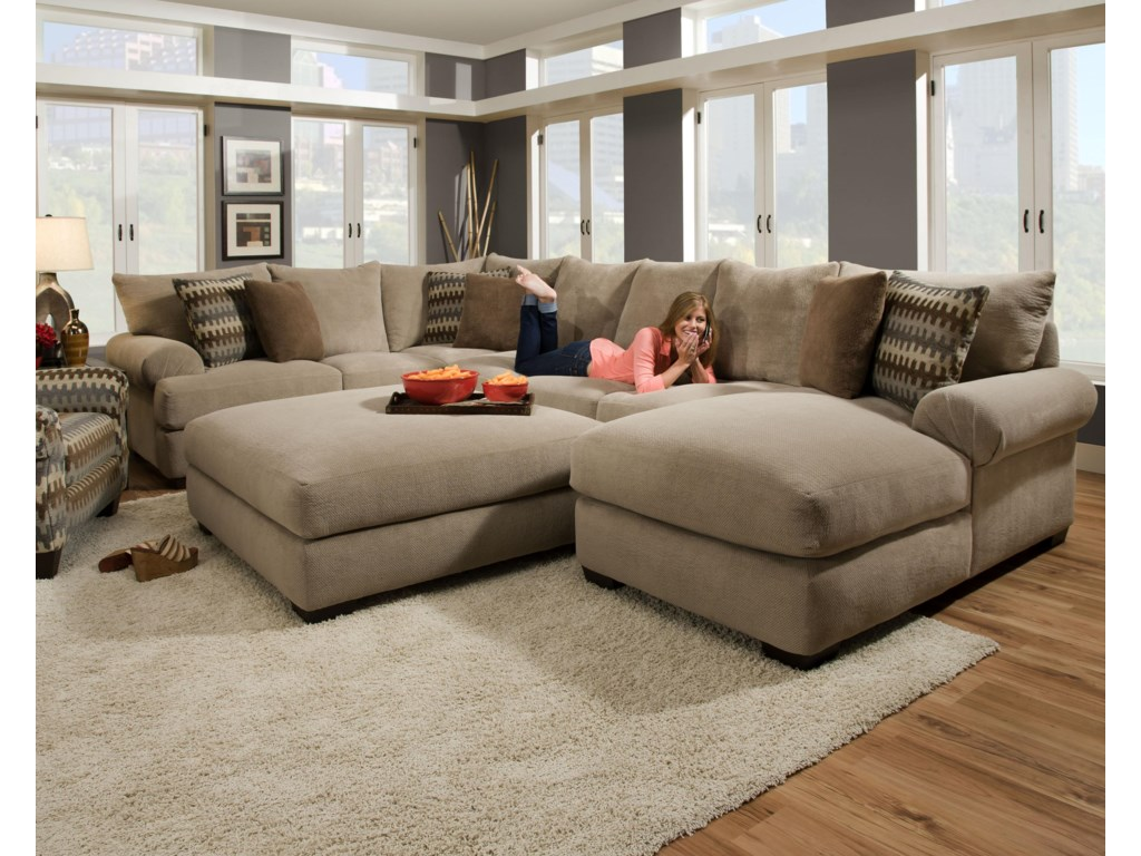 61A0 Sectional Sofa with Right Side Chaise by Corinthian at Furniture Fair  - North Carolina