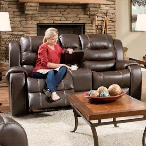 Corinthian 714 Reclining Console Loveseat with Cup Holders