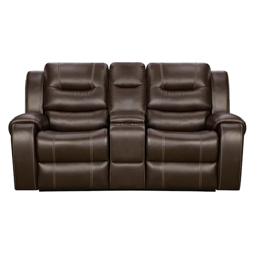 Corinthian Madison Reclining Console Loveseat with Cup Holders