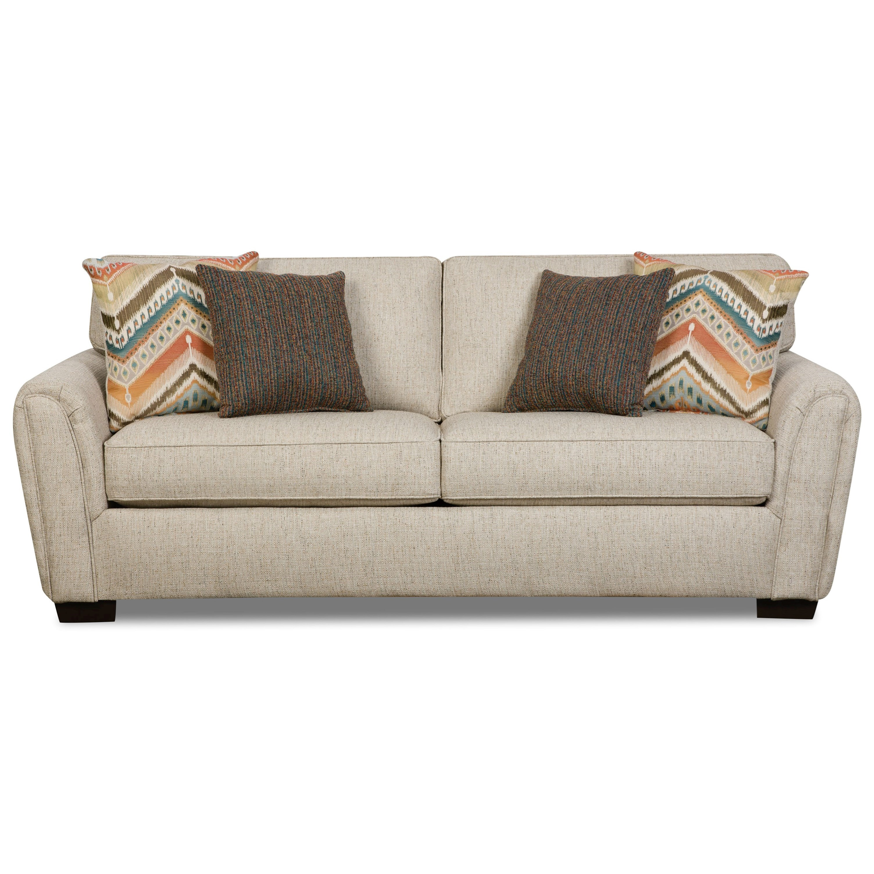 Corinthian 7350 Contemporary Stationary Sofa With Tapered Roll Arms