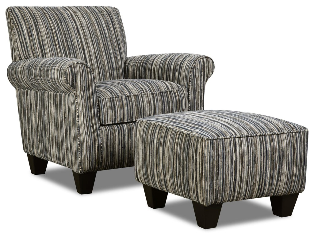Corinthian RapidsTuxedo Accent Chair & Ottoman Set