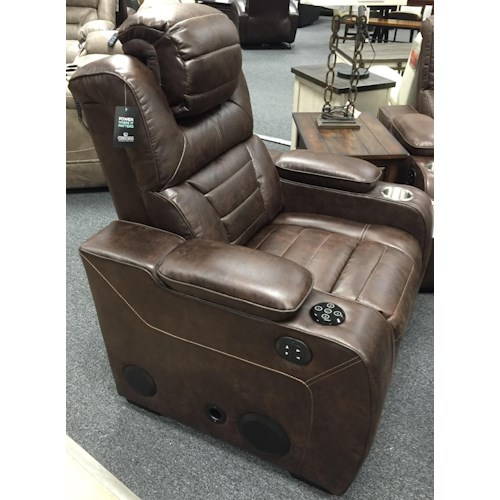 Corinthian 73901 Power Headrest Recliner with Bluetooth Speaker