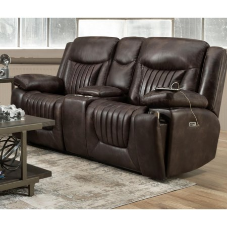 Leather Power Headrest Console Loveseat