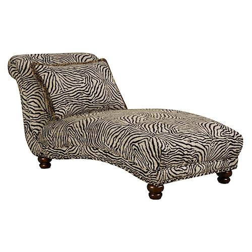 Corinthian 8010 chaise with animal print j j furniture for Animal print chaise lounge furniture