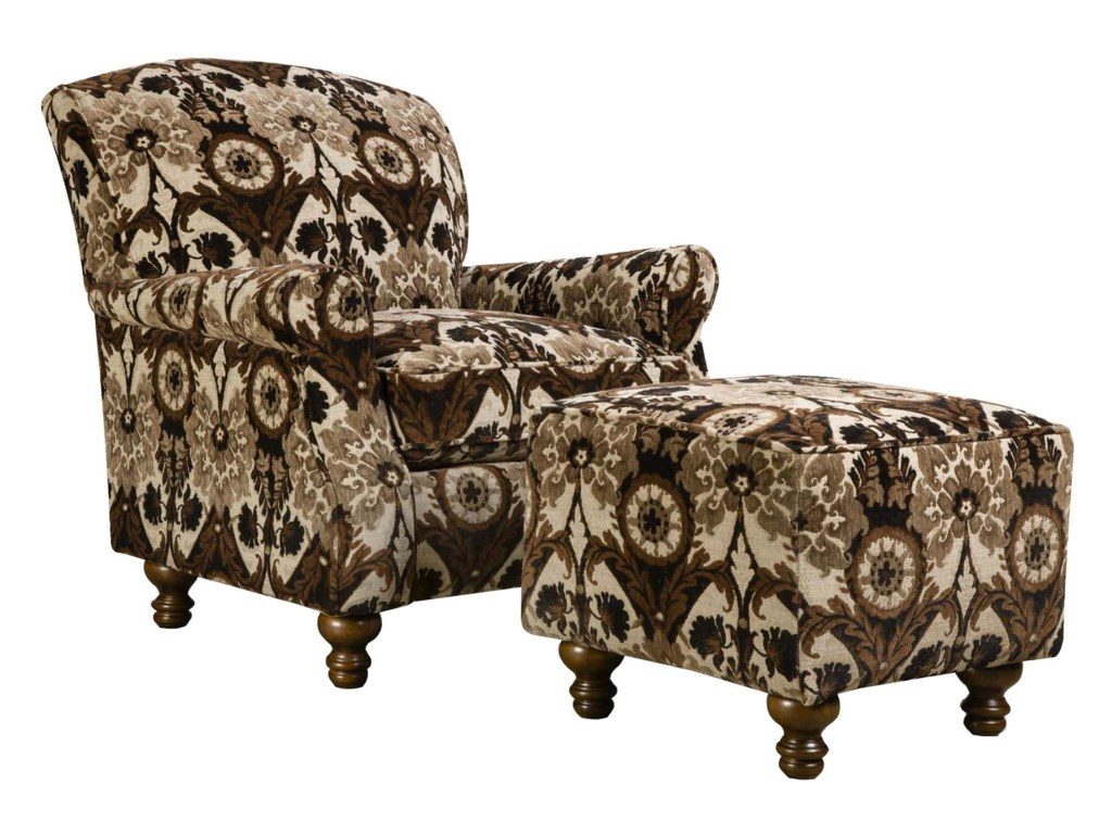 Corinthian 8010Contrast Accent Chair and Ottoman