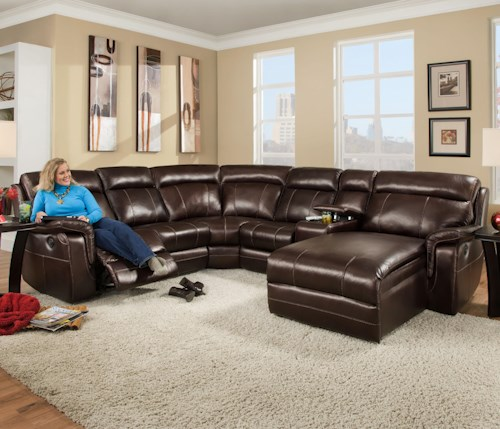 Corinthian 862 Sectional Sofa With 5 Seats 2 Are Wall Away Recliners And 2 Cup Holders J J