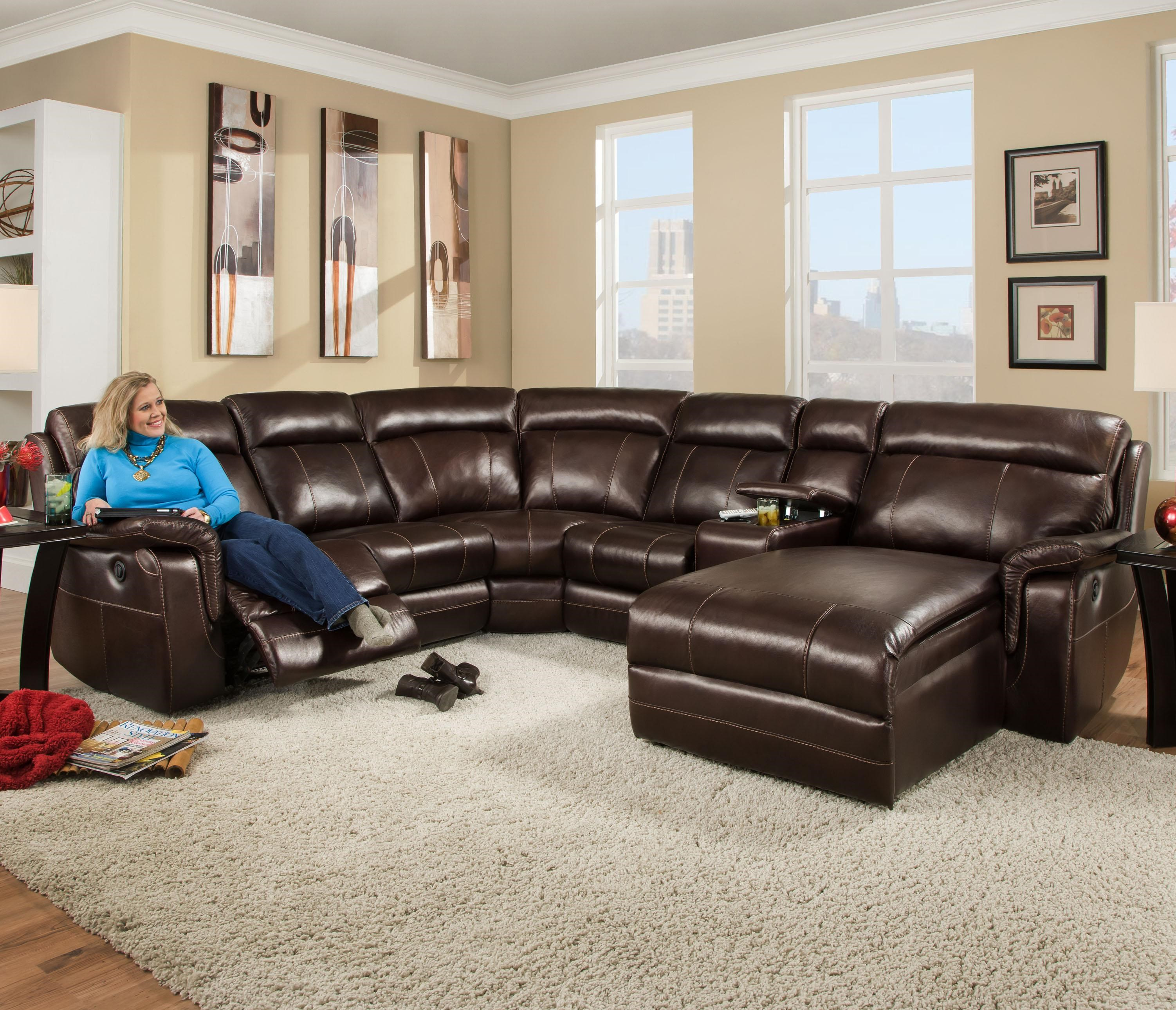 Corinthian 862 Sectional Sofa With 5 Seats (2 Are Wall Away Recliners) And 2
