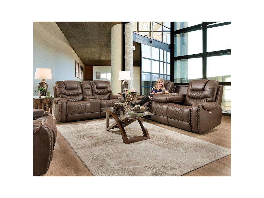 Corinthian 88801Reclining Sofa with Drop-Down Table