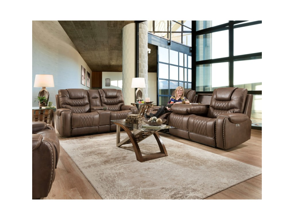 Corinthian 88801Power Reclining Sofa with Drop-Down Table