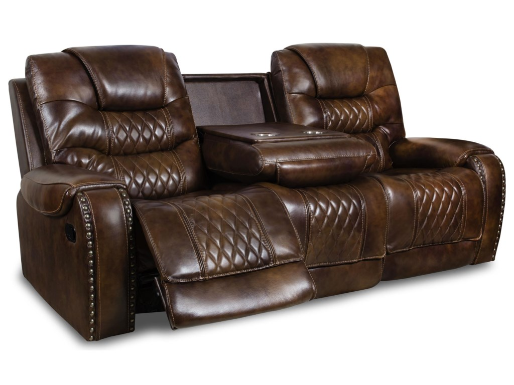 Corinthian 88806 88806 39hrd Power Leather Reclining Sofa