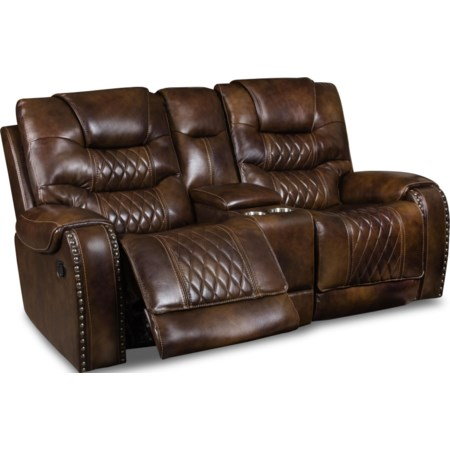 Power Leather Reclining Console  Loveseat