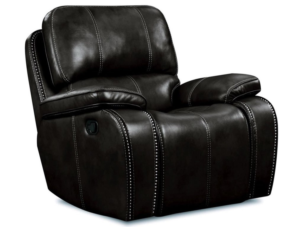 Corinthian Jamestown BlackLeather Glider Recliner