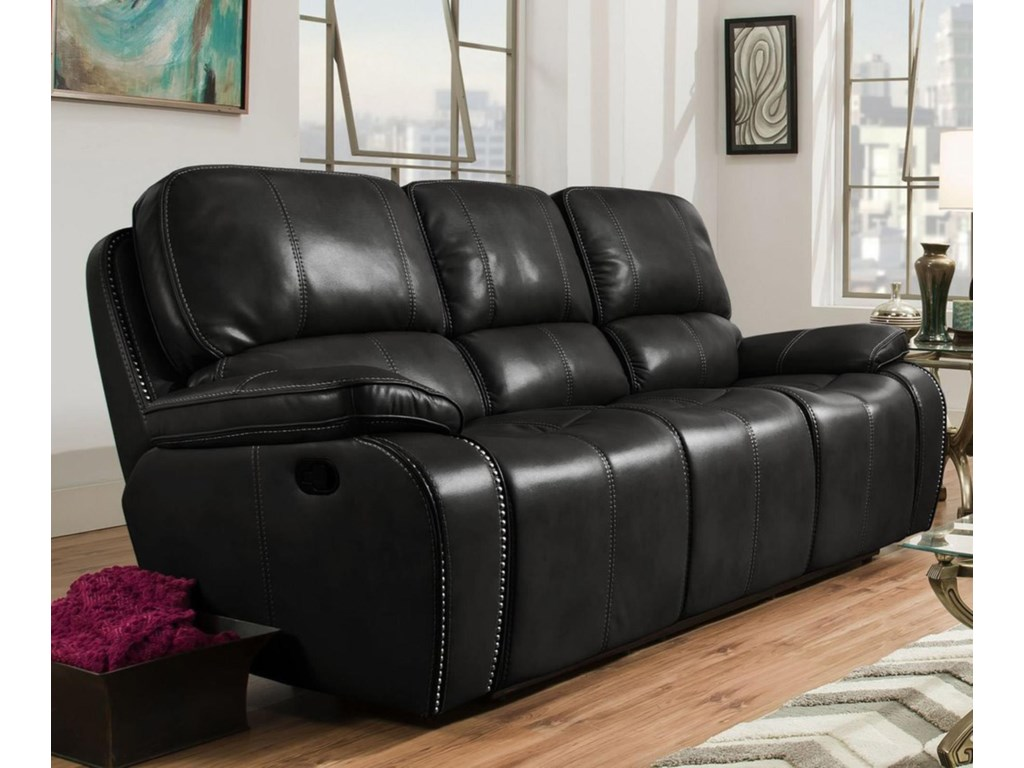Corinthian Jamestown BlackLeather Reclining Sofa