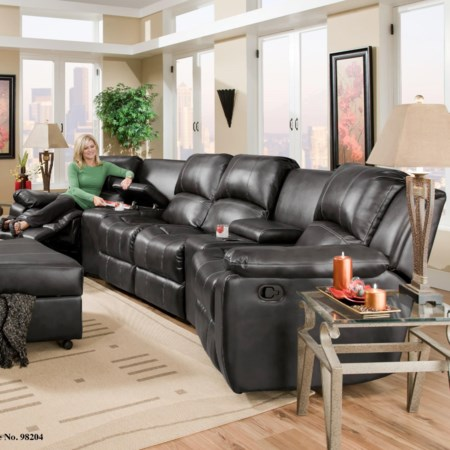Four Seat Reclining Sectional with Consoles