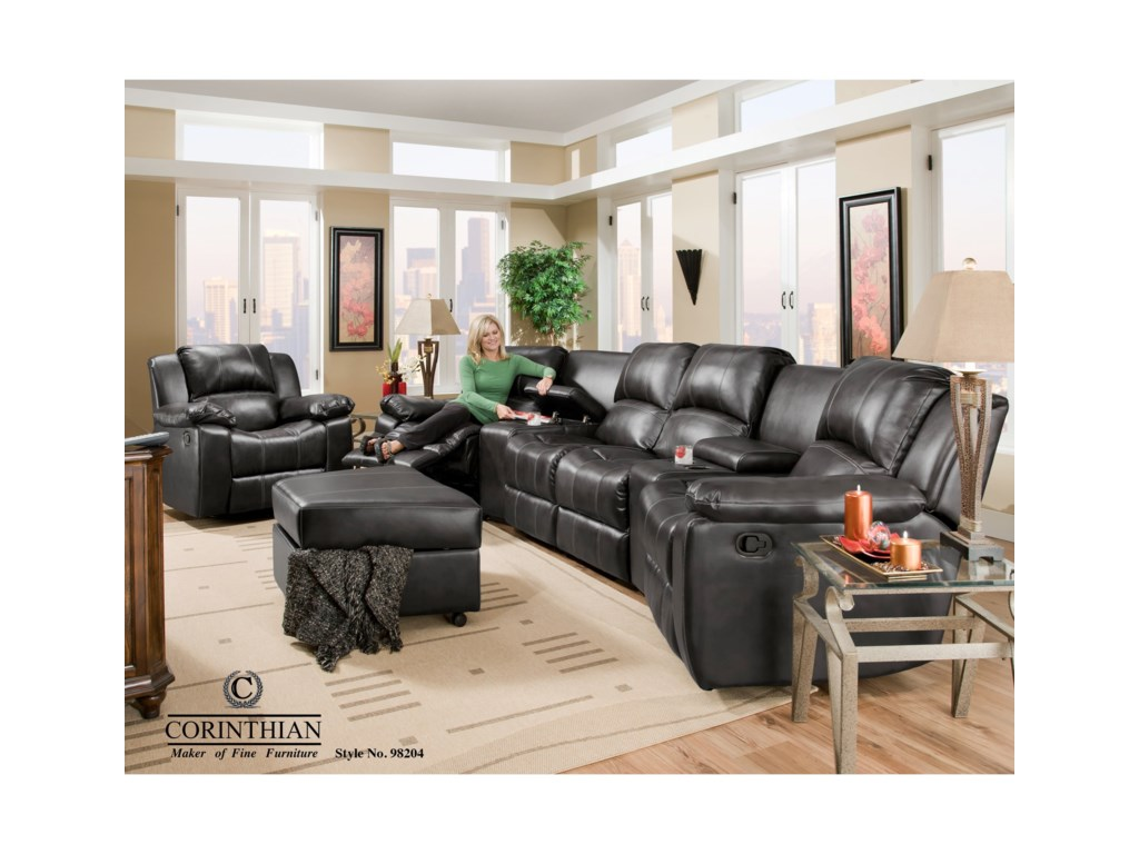 Corinthian Brady CollectionFour Seat Reclining Sectional with Consoles