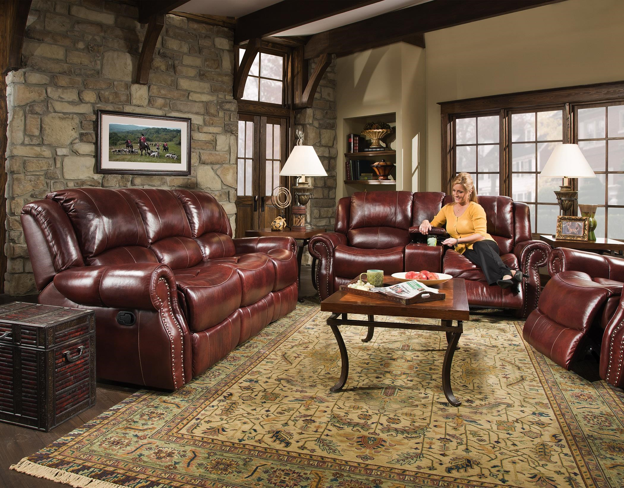 Corinthian Alexander CORI 99901 30,OXBLOOD Alexander Leather Reclining Sofa