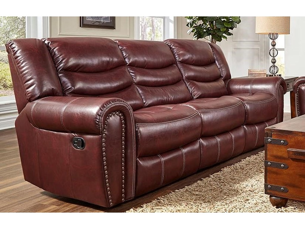 L655 Leather Reclining Sofa by Corinthian at Furniture Fair - North Carolina