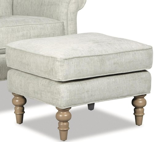 Craftmaster 063410 Ottoman with Turned Wood Feet