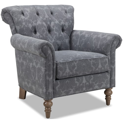 Craftmaster 063410 Button Tufted Chair with Rolled Back and Turned Legs