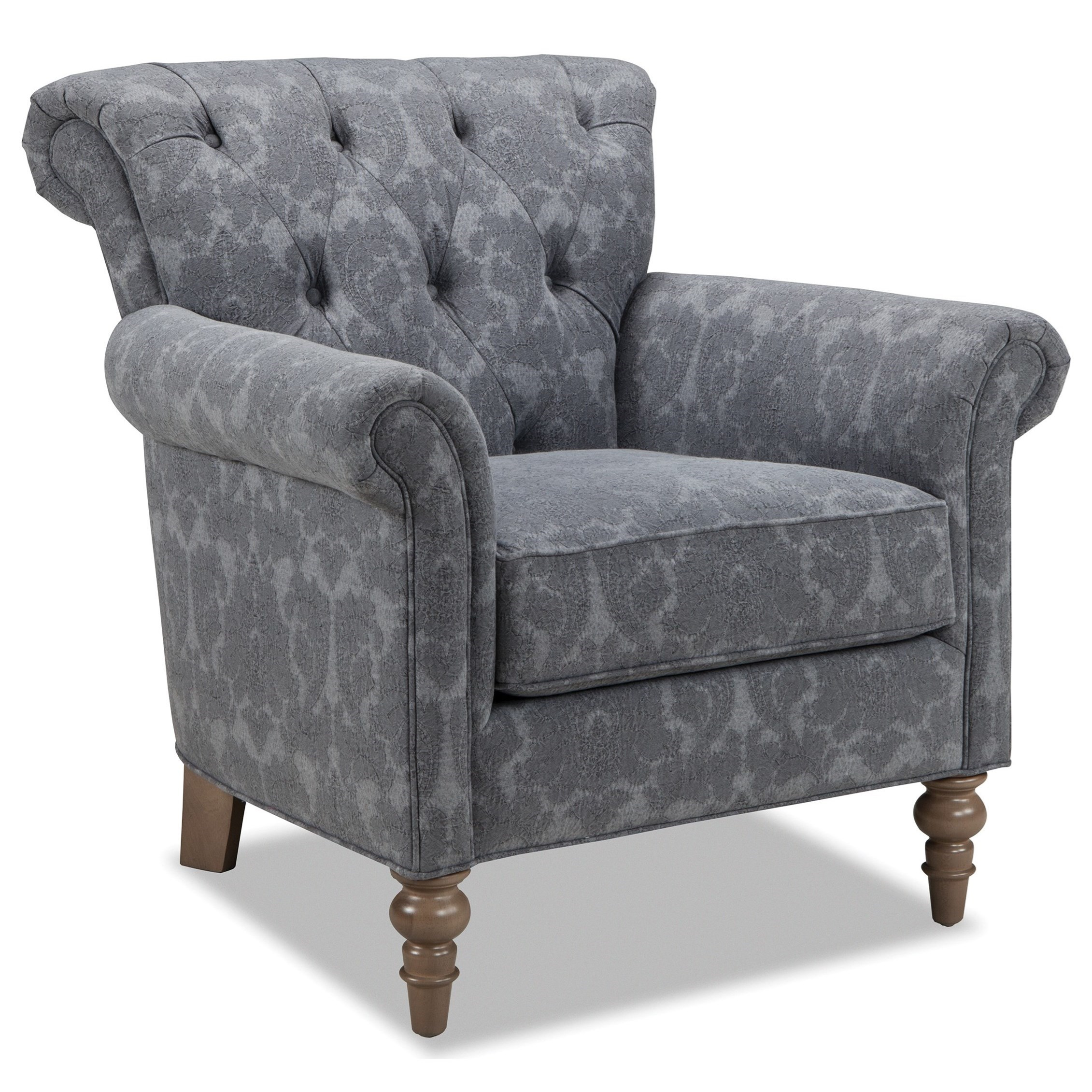 063410 Button Tufted Chair With Rolled Back And Turned Legs By Craftmaster