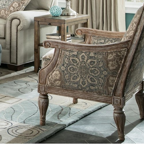 Hickory Craft 063810 Upholstered Exposed Wood Frame Chair with Turned Legs