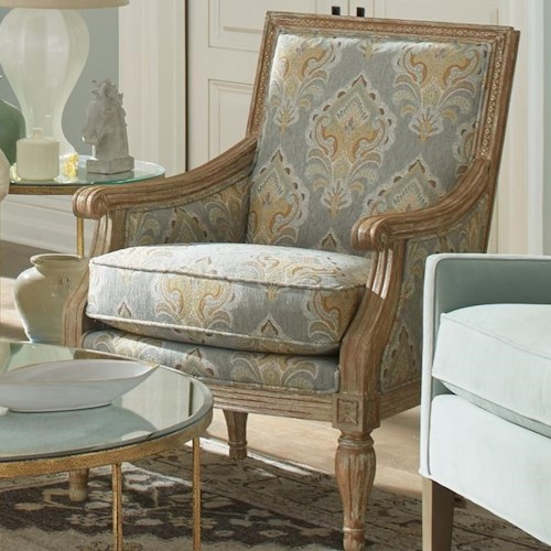 Craftmaster 063810 Upholstered Exposed Wood Frame Chair with Turned Legs