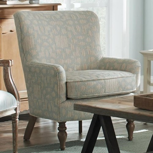 Hickorycraft 064710 Transitional Chair with Wing Back and Turned Legs