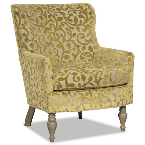 Craftmaster 064710 Transitional Chair with Wing Back and Turned Legs
