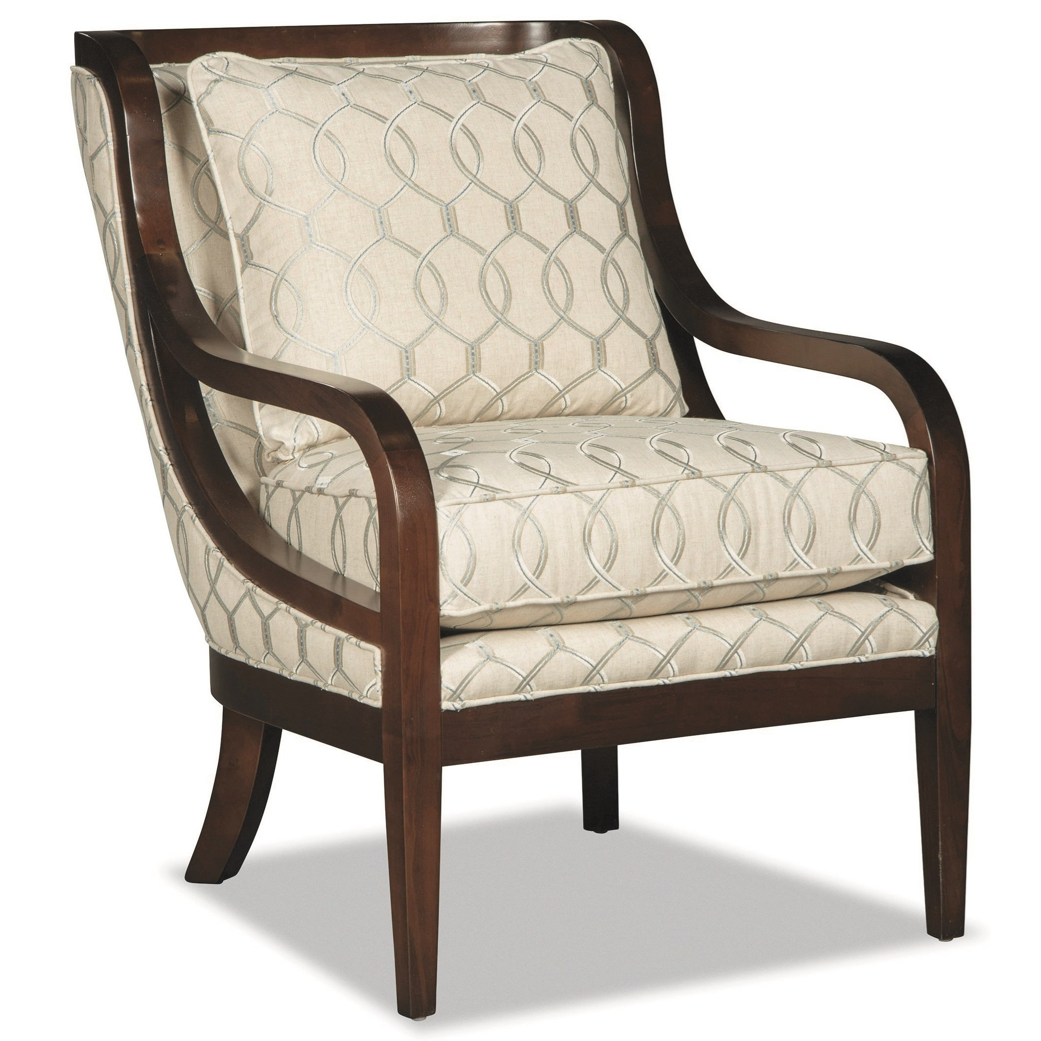 Accent Chair with Exposed Wood Trim and Customizable Wood Finish
