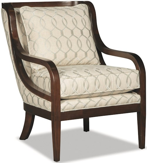 Craftmaster 067410-067510 Accent Chair with Exposed Wood Trim and Customizable Wood Finish