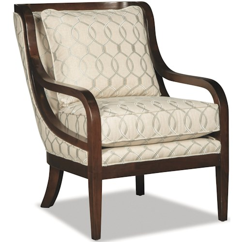 Hickory Craft 067410-067510 Accent Chair with Exposed Wood Trim and Customizable Wood Finish