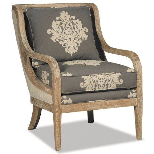 Craftmaster 067410 067510 Accent Chair With Exposed Wood Trim In Weathered Oak J J Furniture