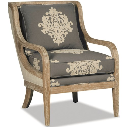 Craftmaster 067410-067510 Accent Chair with Exposed Wood Trim in Weathered Oak