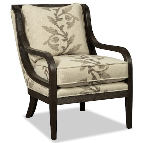 Craftmaster 067410-067510 Accent Chair with Exposed Wood Trim in Dark Weathered Oak