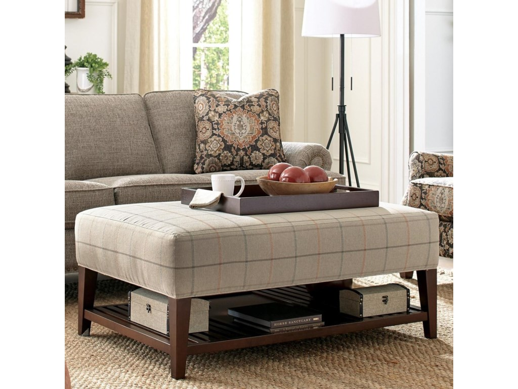 Hickorycraft 068500Ottoman with Three Storage Trays