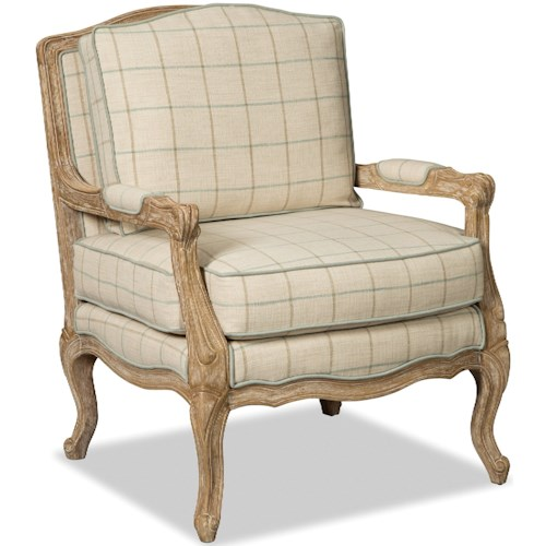 Hickorycraft 070110-070210 Traditional Carved Wood Chair with Upholstered Seat