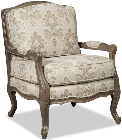 Craftmaster 070110-070210 Traditional Carved Wood Chair with Upholstered Seat
