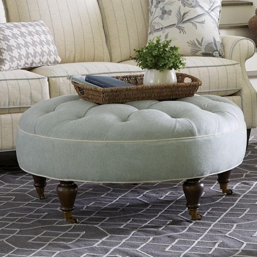 Craftmaster 073400 Traditional Round Ottoman with Button Tufting and Casters
