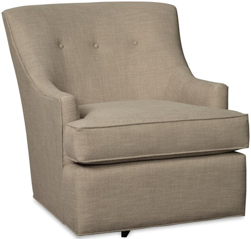 Craftmaster 073610 Casual Swivel Chair with Tufted Back