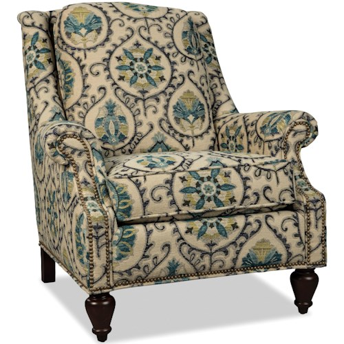 Craftmaster 074410-074510 Traditional Chair with Wing Back and Light Brass Nails