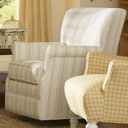 Craftmaster 075110 Swivel Glider Chair with Classic Rolled Arms