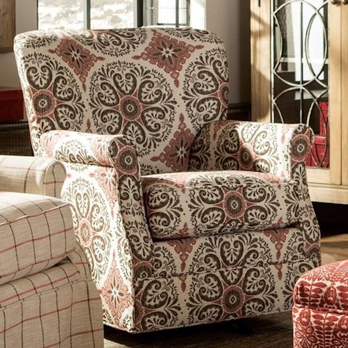 Craftmaster 075110 Swivel Chair with Classic Rolled Arms