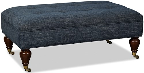Craftmaster 075300 Transitional Tufted Ottoman with Casters