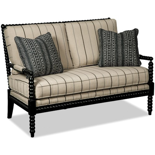 Hickorycraft 077230 Traditional Spool-Turned Settee with Reversible Cushions