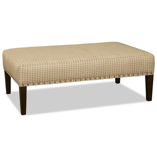 Craftmaster 078100-078200-078300 Rectangular Cocktail Ottoman with Brass Nails