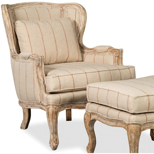 Craftmaster 081200-081210 Vintage Carved Wood Wing Chair with Weathered Oak Finish