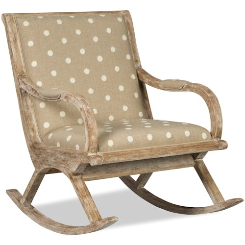 Craftmaster 082410 Vintage Exposed Wood Rocking Chair with Upholstered Seat