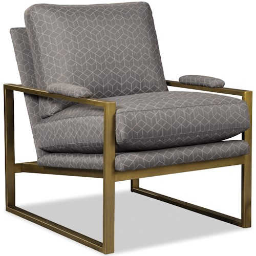Craftmaster 082810 Contemporary Chair with Satin Brass Arms